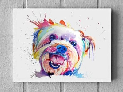 Large Colorful Custom Pet Portrait Watercolor Painting On Canvas