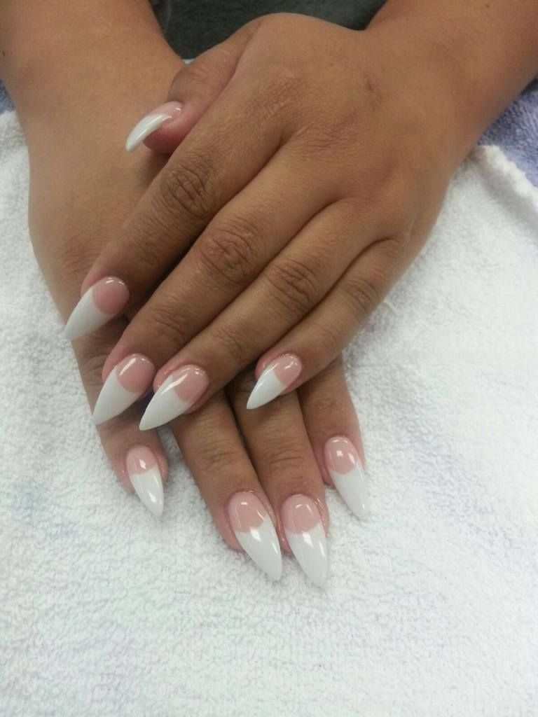 Natural Nails French Tip Nail Art Long Nails Stiletto Shape