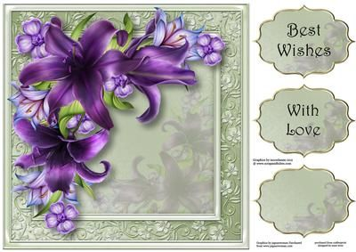 Gorgeous Dark Purple Lilies 8x8 Quick Topper on Craftsuprint - Add To Basket!