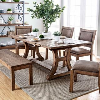 Shop For Furniture Of America Matthias Industrial Rustic Pine Delectable Pine Dining Room Table And Chairs Design Inspiration
