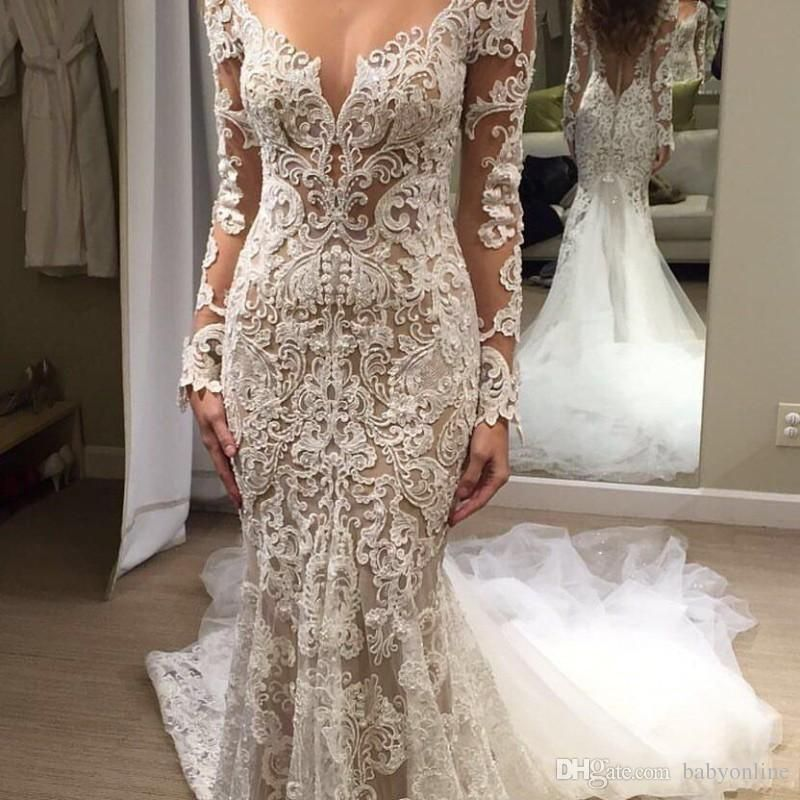 0f51d8a03060a 2019 Lace Illusion Berta Mermaid Wedding Dresses Long Sleeves Sheer Neck Bridal  Dresses Sexy Vintage Wedding Gowns BA8569 2019 Wedding Dresses Lace Wedding  ...