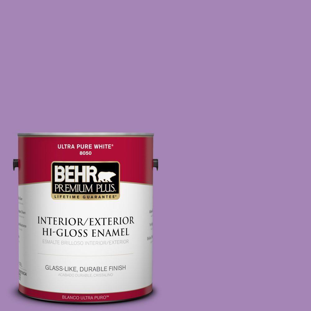 BEHR Premium Plus 1-gal. #660B-6 Daylight Lilac Hi-Gloss Enamel Interior/Exterior Paint