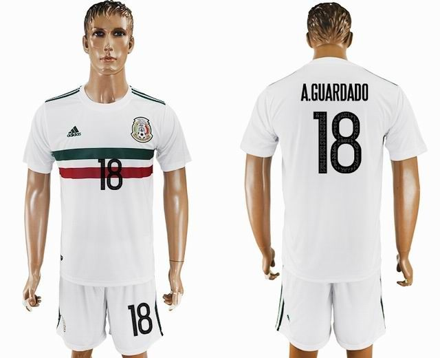 439fb0474 2017-2018 Mexico team  18 A.GUARDADO white soccer jersey away ...