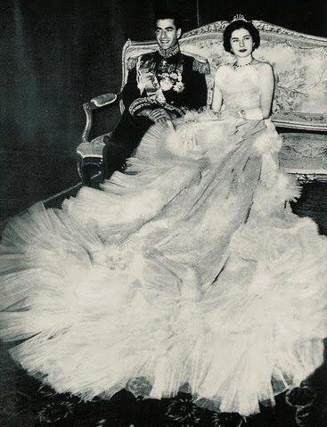 Image result for wedding dress Soraya Esfandiary-Bakhtiari and Mohammad Reza Pahlavi, the Shah of Iran