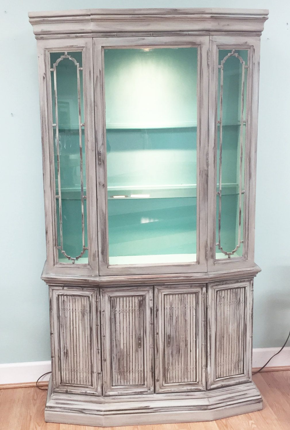 Mid Century CHINA CABINET Hutch vtg buffet credenza glass faux ...