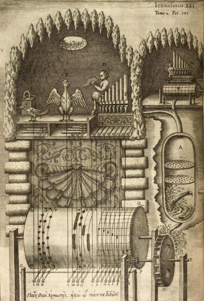 A fantastical musical machine as imagined by Athanasius Kircher in his Musurgia Universalis 1650