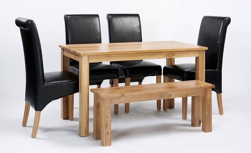 Lansdown Oak Dining Table 2 Or 4 Brown Rollback Chairs Bench