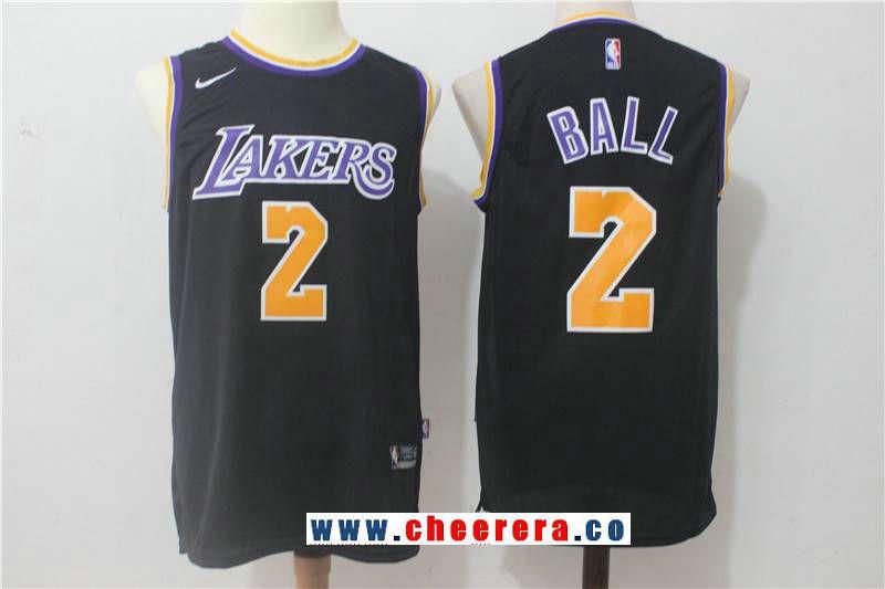 the latest 3fa15 d3349 Men's 2017 Draft Los Angeles Lakers #2 Lonzo Ball Black 2017 ...