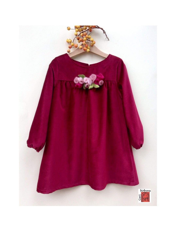 buy popular 9a68b d0352 Abito per bambina in velluto rosso ciliegia - Cecibirbona ...