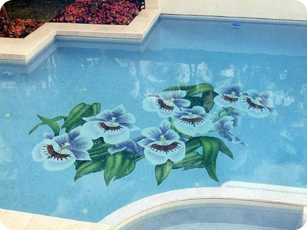 Beautiful floral tile mosaic design on swimming pool floor ...