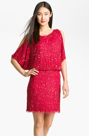 cbced1e3321   Aidan Mattox Bloused Sequin Cold Shoulder Dress available at  Nordstrom