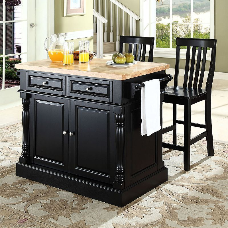 Crosley Furniture 3 Piece Kitchen Island And School House Counter