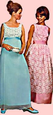 9d5e43fd9e18 Sears 1968. Left - Empire dress, cotton Venice type lace bodice, rayon  chiffon skirt, acetate satin sash, back bow. $25.00 Right - Acetate and  nylon lace ...