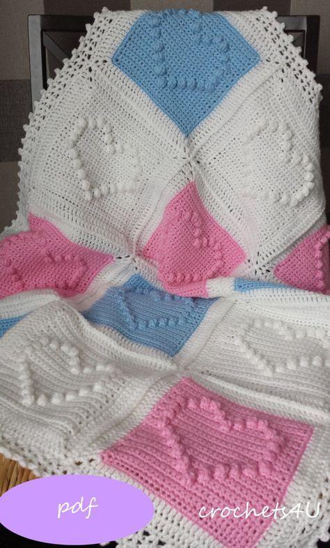 Crochet pattern, heart afghan, crochet blanket pattern, baby blanket ...