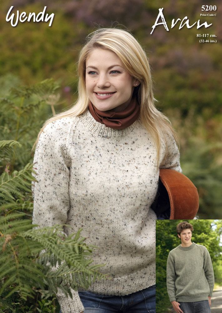 Men/'s /& Women/'s Diamond Textured Sweater Wendy 4027 knitting pattern aran yarn