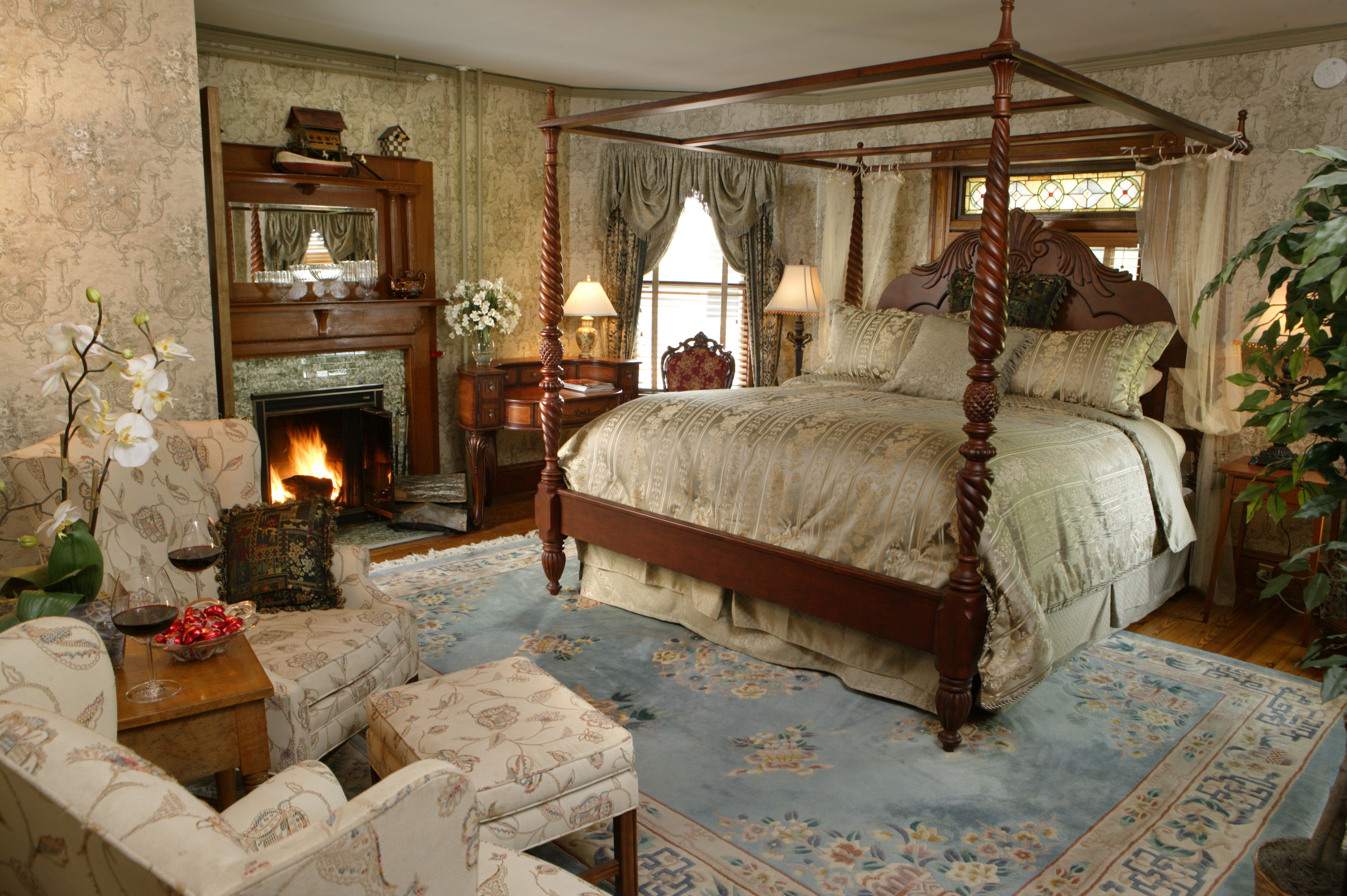Room 3 with a wood burning fireplace is the perfect place