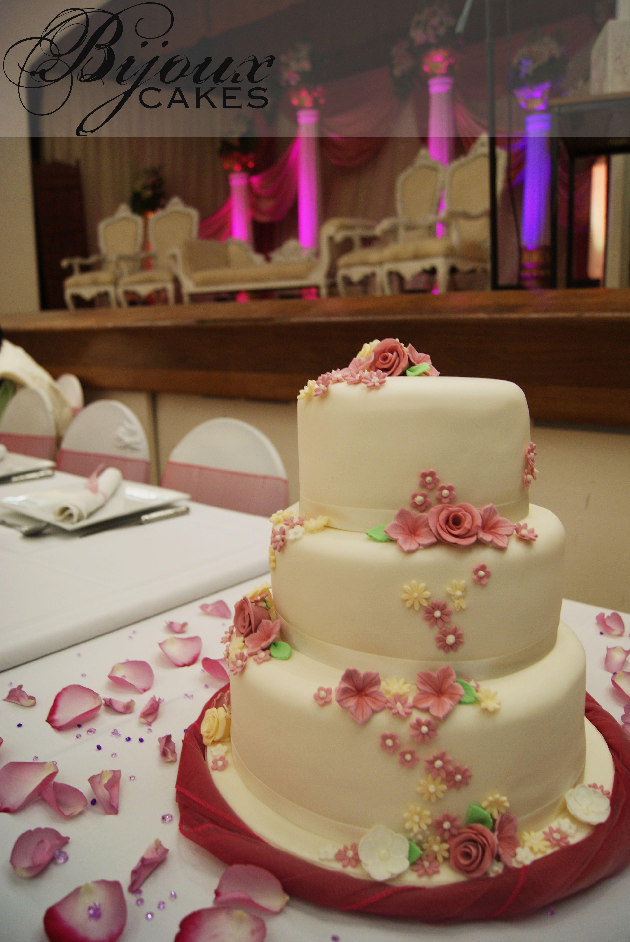 """Three tiered wedding cake 10"""" Vanilla Madeira 8"""