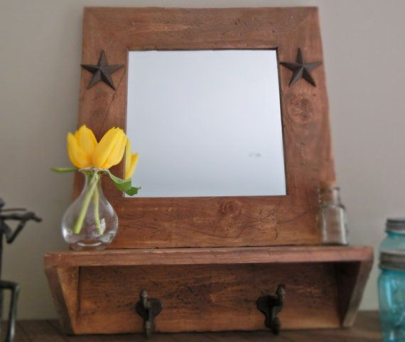Wall Mirror With Hooks rustic wood mirror with shelf and hooks-farmhouse style on etsy