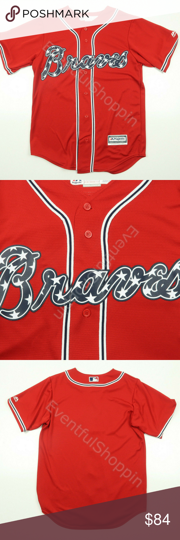 Atlanta Braves Red Stars Stripes Home Jersey Majestic Shirts Clothes Design Fashion