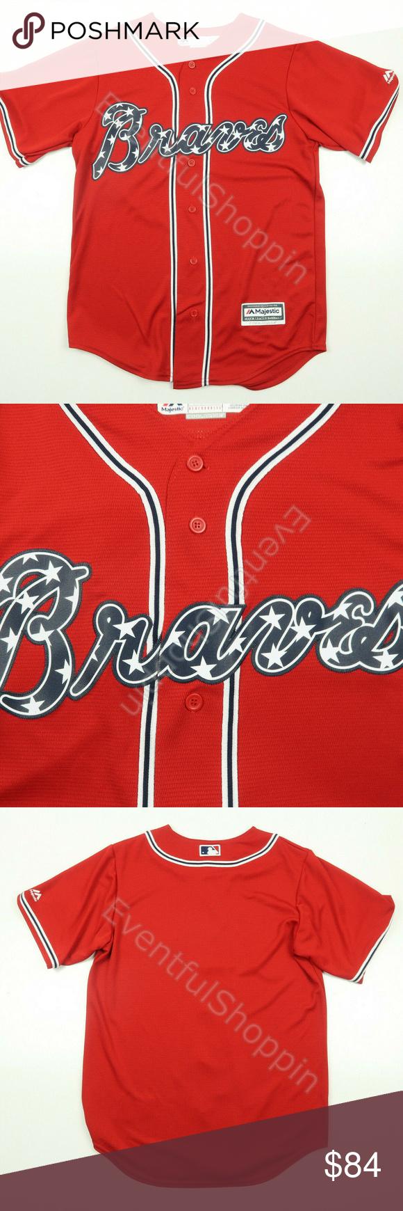 Atlanta Braves Red Stars Stripes Home Jersey Majestic Shirts Clothes Design Fashion