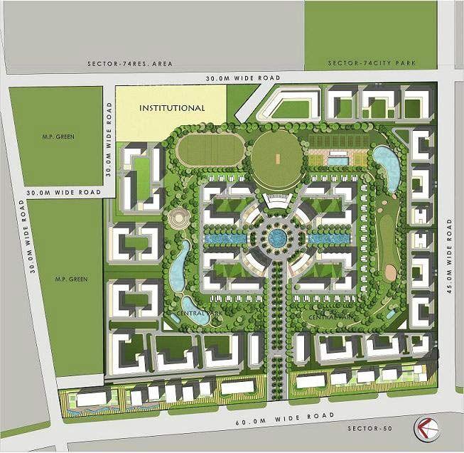 Golfcity Gardenia Noida Residential Property Site Big Jpg 653 637 Site Plan Design Residential Complex Landscape Architecture Design