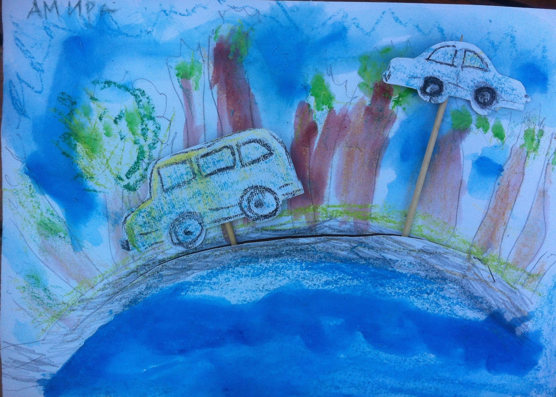 Moving Traffic Picture. Crayons, Watercolor, Scissors, Popsticle Stics. *** Подвижна картина. Пастели, акварел, ножица, дървени клечки