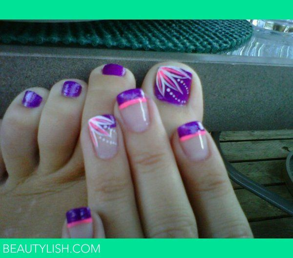 Neon French Tip Nail Designs: Purple & Pink Nails. Really Cute But I'd Have To Do One