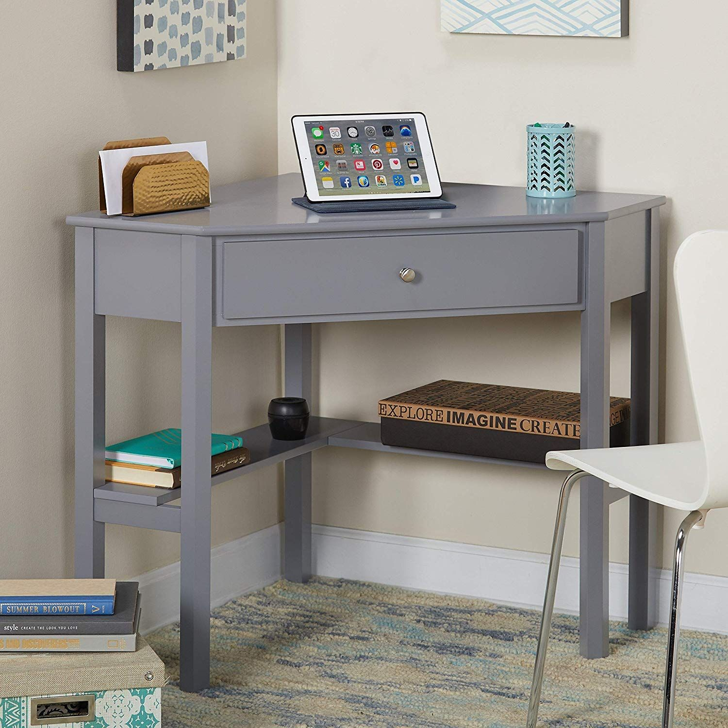 Amazon Com This Classically Styled Desk Utilizes A Small Space For A Big Impact With Stylish Under Desk Shel Corner Writing Desk Corner Desk Wood Corner Desk