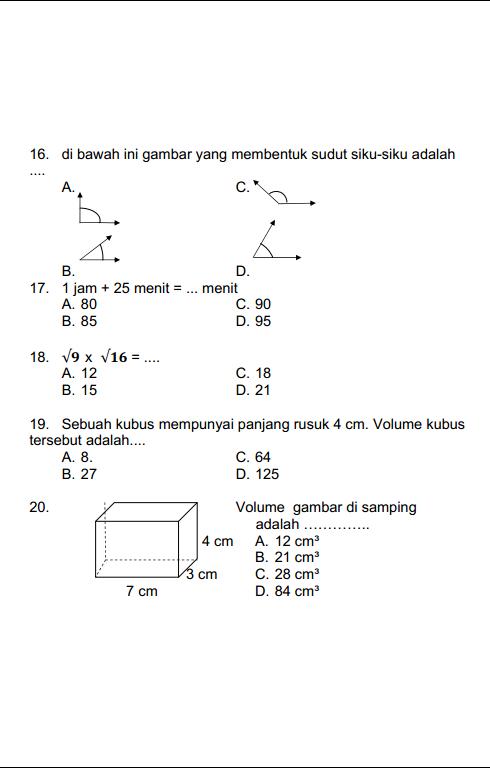 Soal Uts Volume Kubus Kelas 10