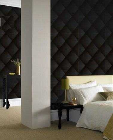 papier peint chambre capitonne noir graham and brown. Black Bedroom Furniture Sets. Home Design Ideas