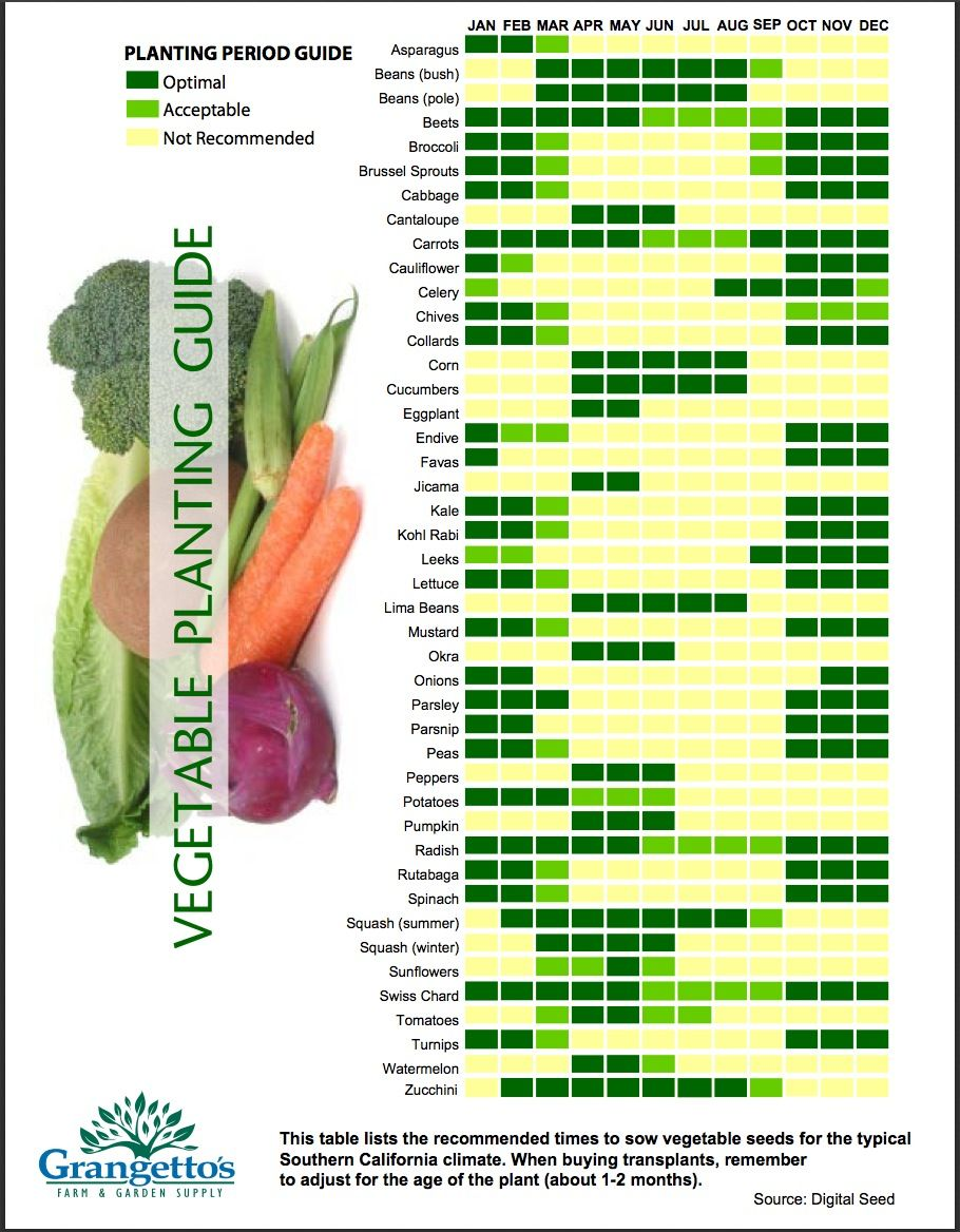 Merveilleux Veggie Planting Guide For Southern California