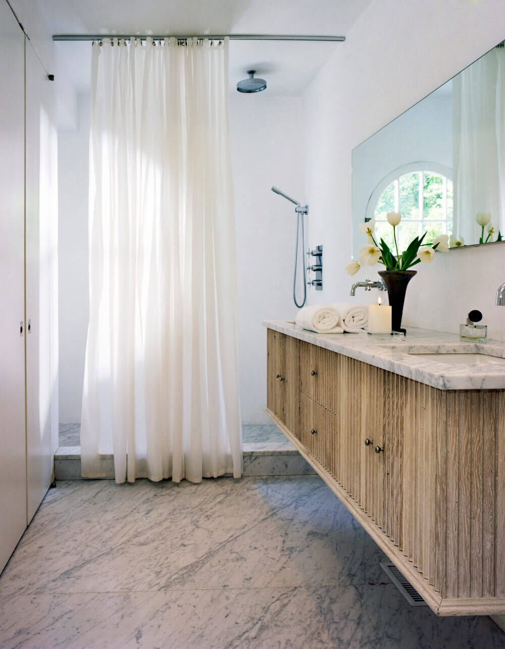Stunning bathroom design with walk in shower and marble floors ...
