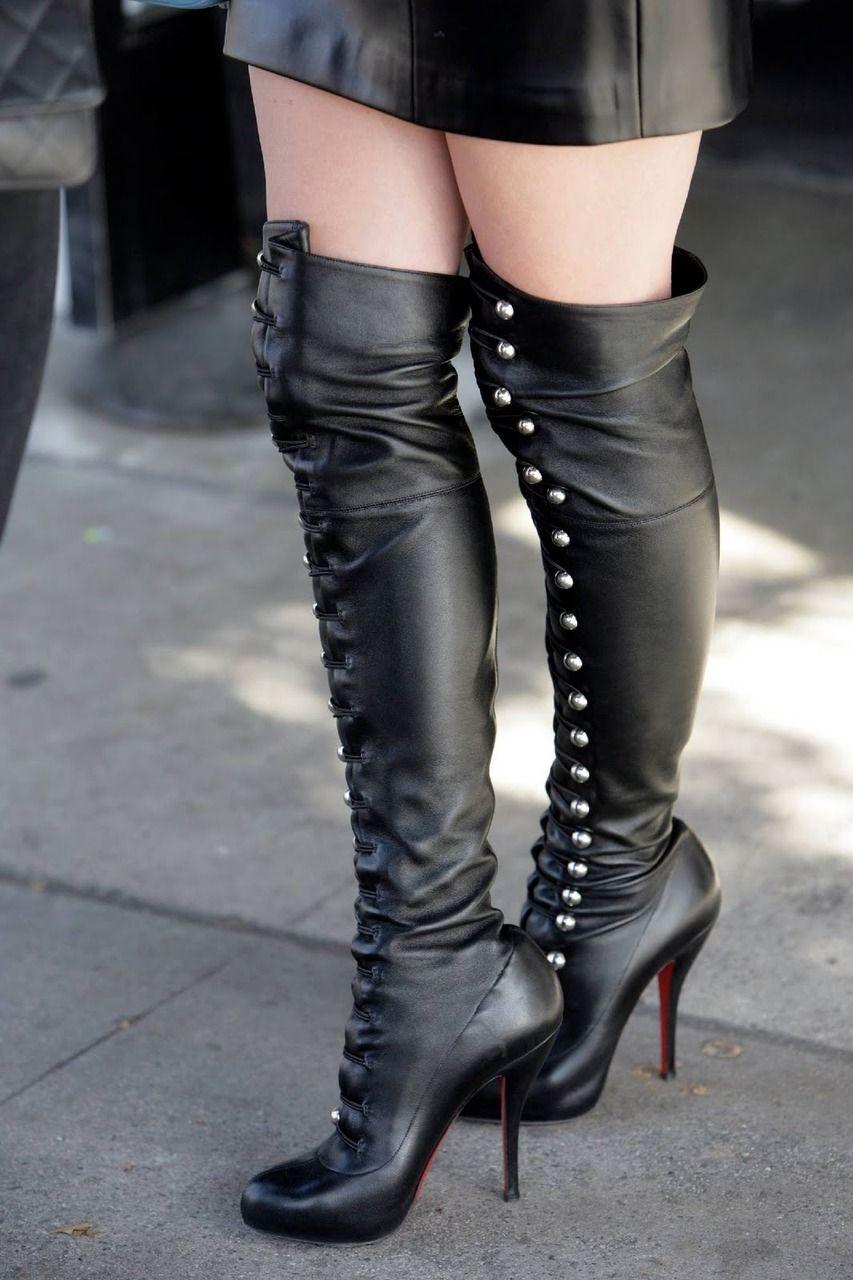 Scarpe Stivali Donna Alti di gamba in pelle Nero Tacco alto