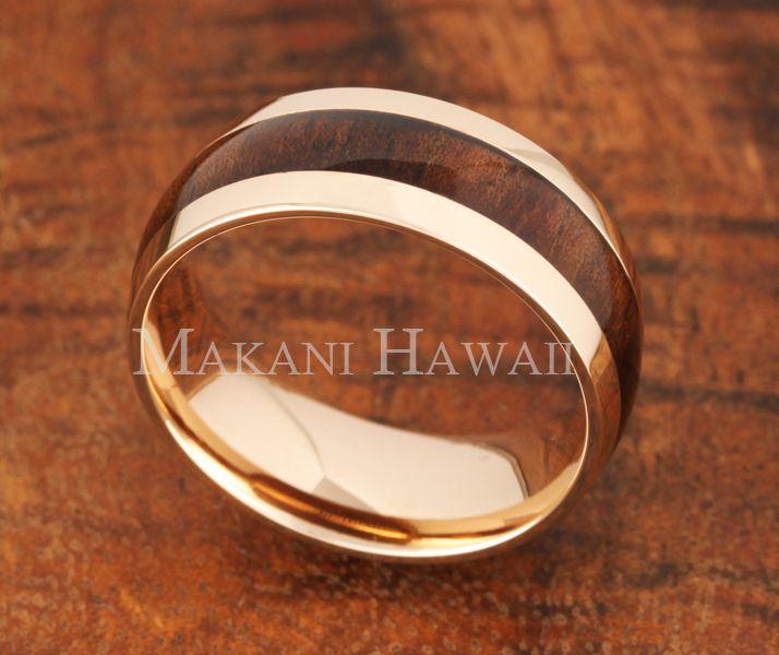 8mm koa wood wedding ring ovalshape pink gold plated makani hawaiihawaiian heirloom jewelry - Koa Wood Wedding Rings