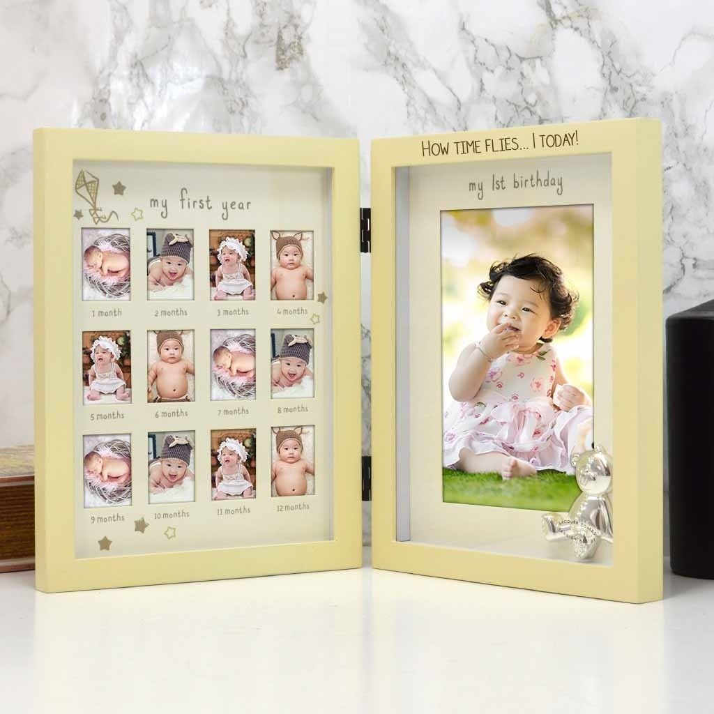 BABY 1st Year 12 MONTH PHOTO FRAME COLLAGE Birthday Christening Gift For Girl