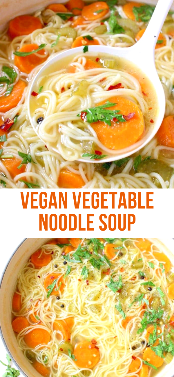 Homemade vegan vegetable noodle soup from scratch featuring classic angel hair style long noodles, carrot, celery and tons of fresh Italian parsley.