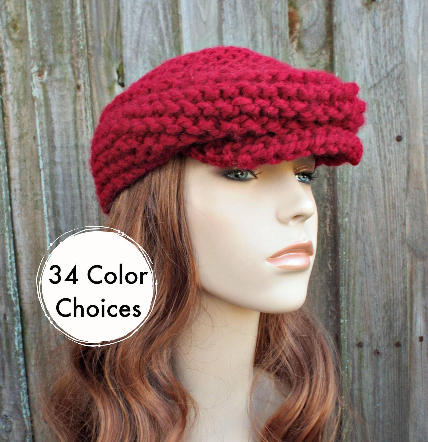 3805fe3514e Chunky Knit Hat Cranberry Red Newsboy Hat - Womens Newsboy Hat Mens Newsboy  Hat - Red
