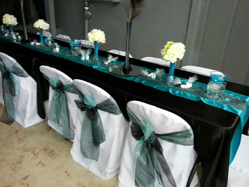 tiffany blue and black wedding decorations%0A Turquoise and black wedding