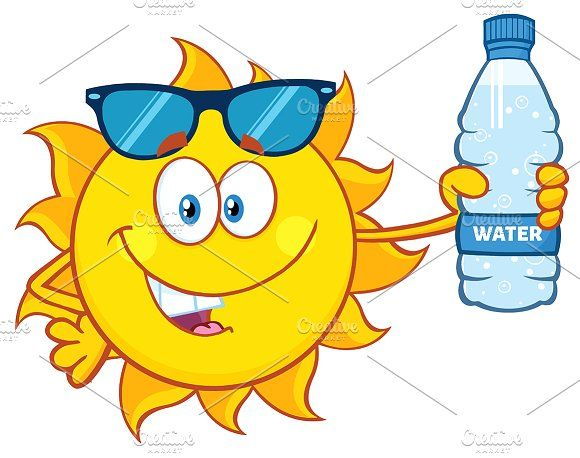 cf4d8be5e9 Cute Sun Holding A Water Bottle Graphics Cute Sun Cartoon Mascot Character  With Sunglasses Holding A