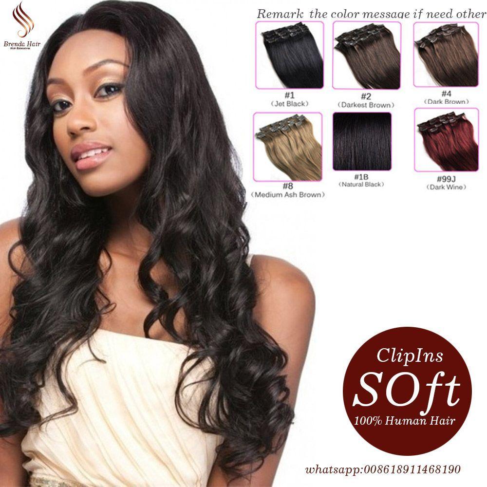 Full Head Clip In Human Hair Extensions Brazilian Body Weave Wavy