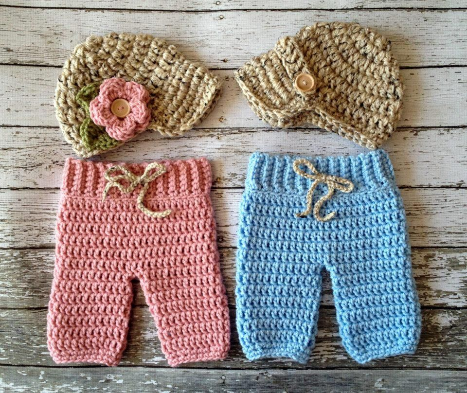 Twin Boy and Girl Hat and Pants Set | Inspiration | Pinterest ...