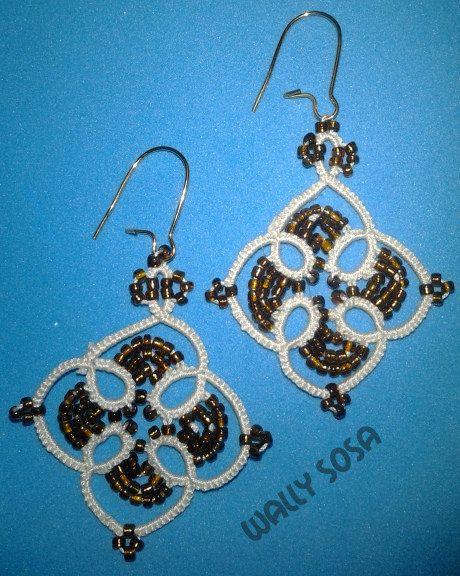 Beaded Tatted Earrings by needledreams on Etsy, $15.00