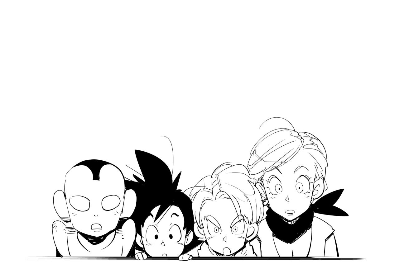 Jaco, Goku, Trunks, and Bulma