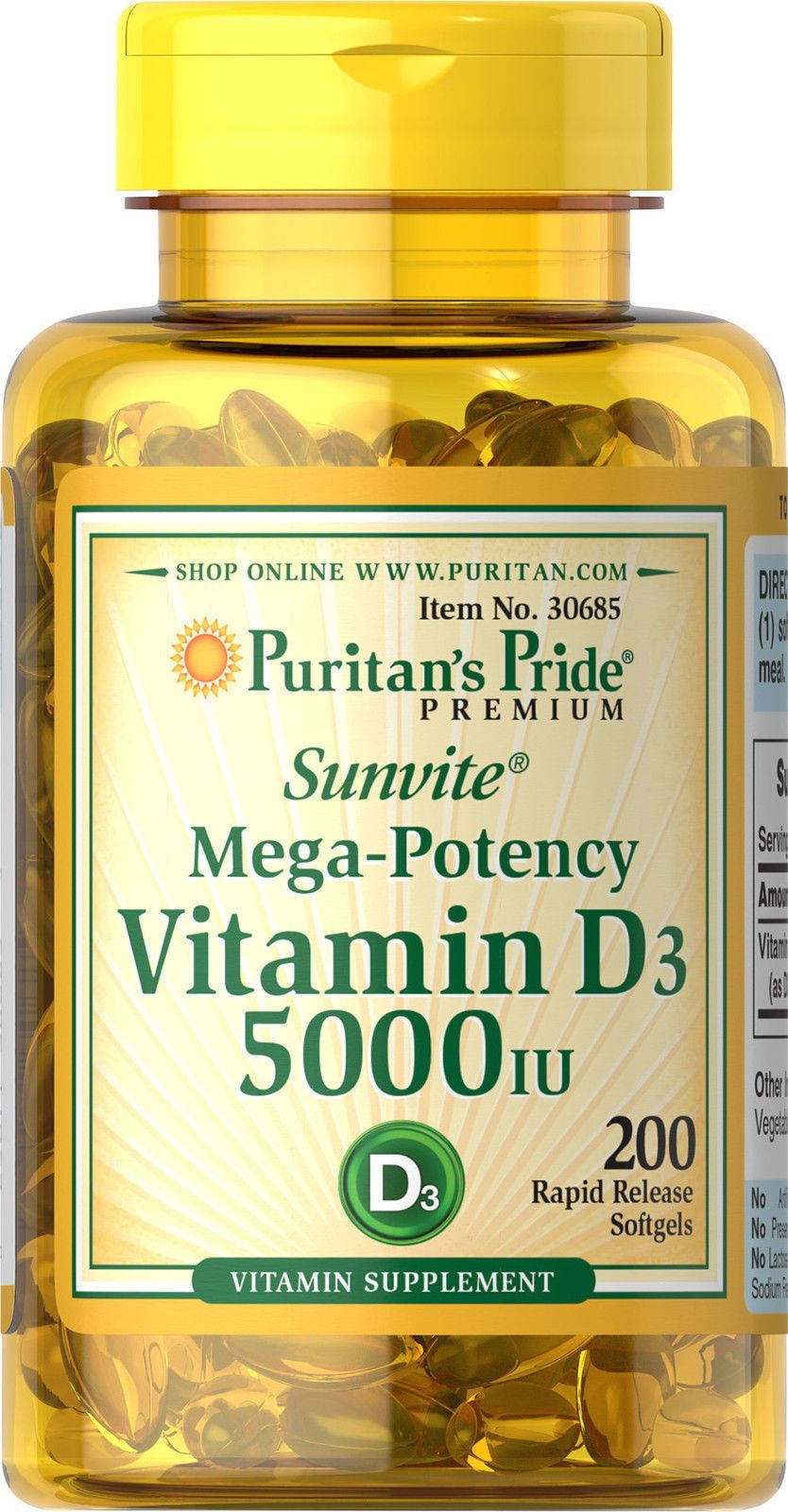 Puritans Pride Mega Potency Vitamin D3 5000 Iu 200 Softgels Puritan Triple Strength Joint Soother Glucosamine Chondroitin Msm 90 Caplets Description D Is Essential To The Body Because Of Its Role In Calcium Absorpt