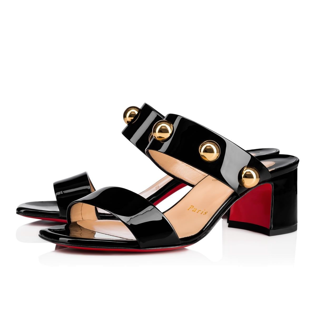 Simple Bille 55 Black/Gold Patent Leather - Women Shoes - Christian  Louboutin
