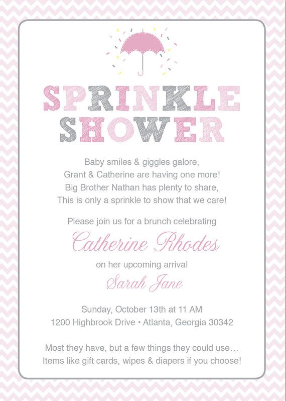 Pink Baby Sprinkle Shower Invitation \/ Pink Grey Girl Chevron - invitation wording for baby shower