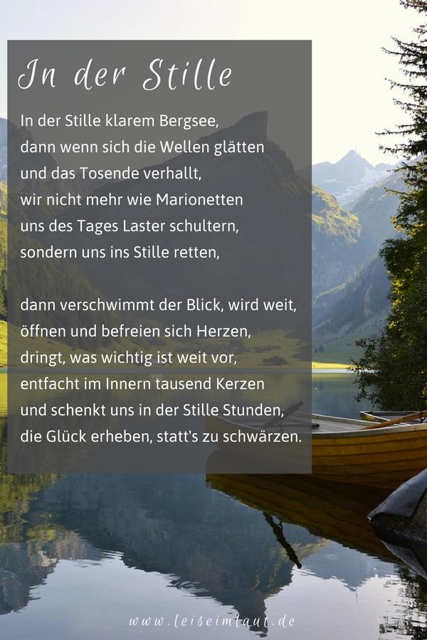 In Der Stille Gedicht Gedichte Sprüche Und Zitate