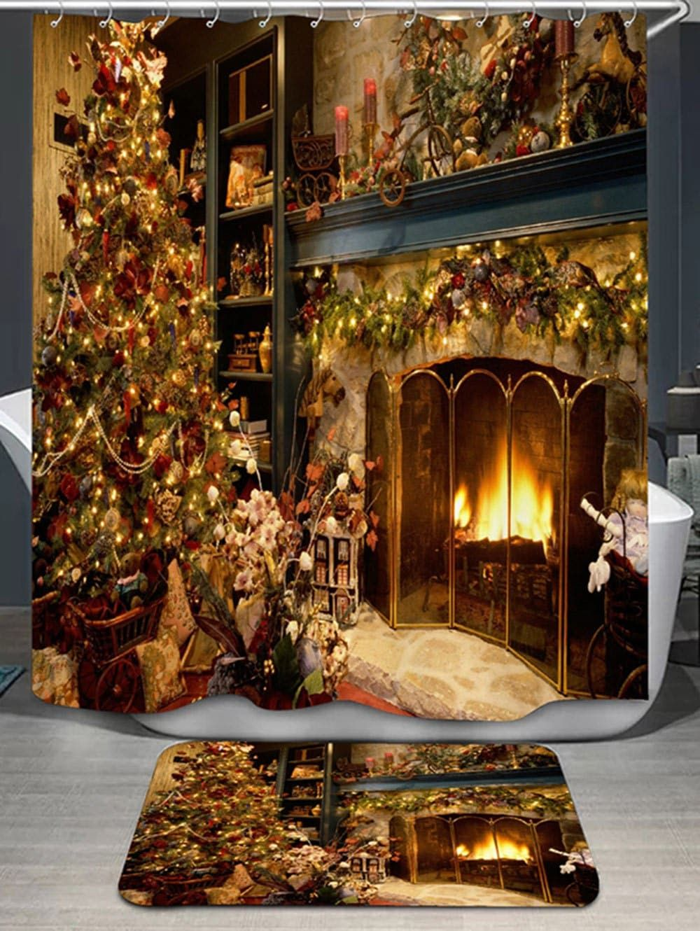 Christmas Fireplace Print Shower Curtain And Rug Yellow