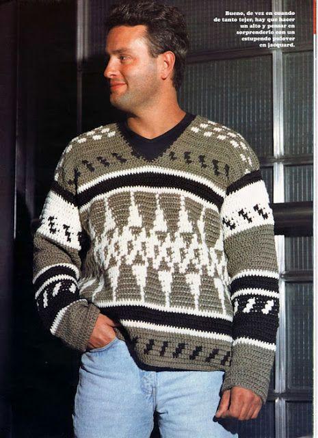 Patrón #1327: Suéter de Hombre a Crochet   CTejidas [Crochet y Dos ...