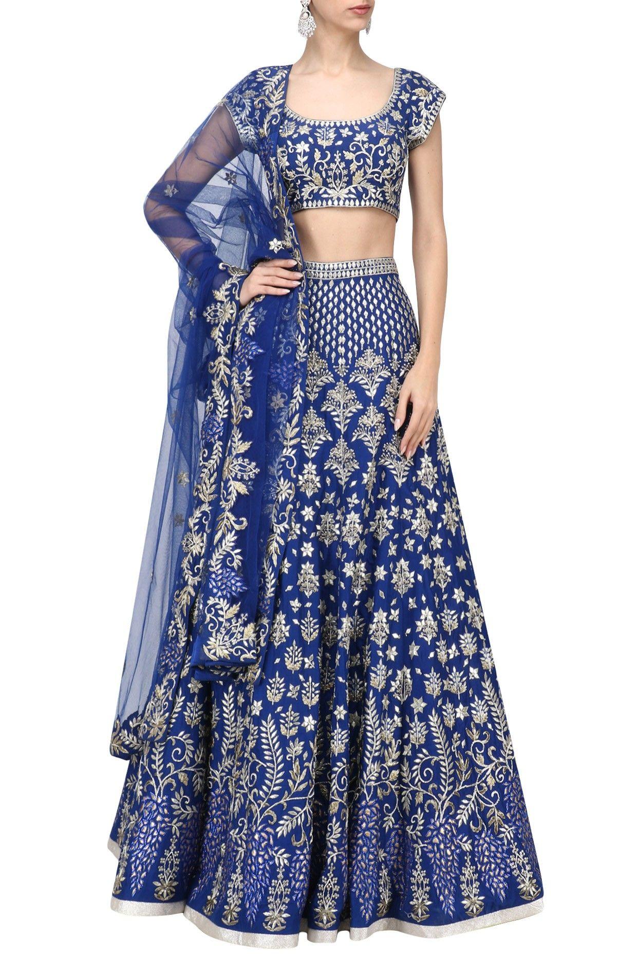 Ibfw royal blue embroidered lehenga set shop now ibfw